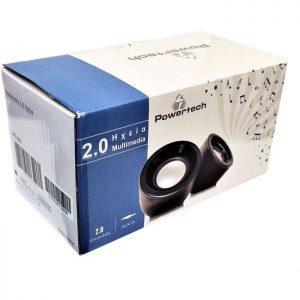 POWERTECH Multimedia Ηχεία PT-420, 2.0 channel, 2x3W, USB, Aux in, Black   Συνοδευτικά PC   elabstore.gr