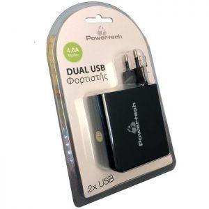 POWERTECH Φορτιστής PT-504, 2x USB, 4.8A, Black | Αξεσουάρ κινητών | elabstore.gr