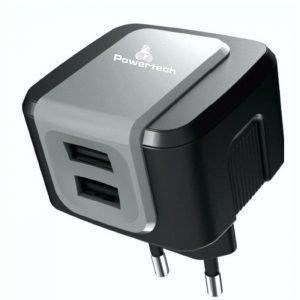 POWERTECH Φορτιστής PT-505, 2x USB, 2.4A, Black | Αξεσουάρ κινητών | elabstore.gr