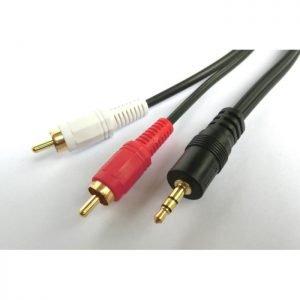 Cable Audio 3.5mm M/2xRCA M 2m Aculine AU-012 | AUDIO CABLES | elabstore.gr