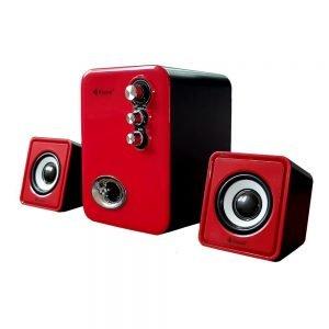 KISONLI Multimedia ηχεία U-2100, 2.1ch, 5W & 2x 3W, USB, κόκκινο | Συνοδευτικά PC | elabstore.gr