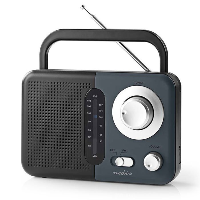 NEDIS RDFM1300GY FM Radio, 2.4 W, Carying Handle, Black / Grey | ΕΙΚΟΝΑ / ΗΧΟΣ | elabstore.gr