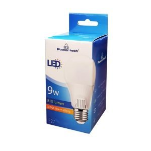 POWERTECH LED Λάμπα Bulb 9W, Warm White 3000K, E27, Samsung LED, IC | Φωτισμός | elabstore.gr
