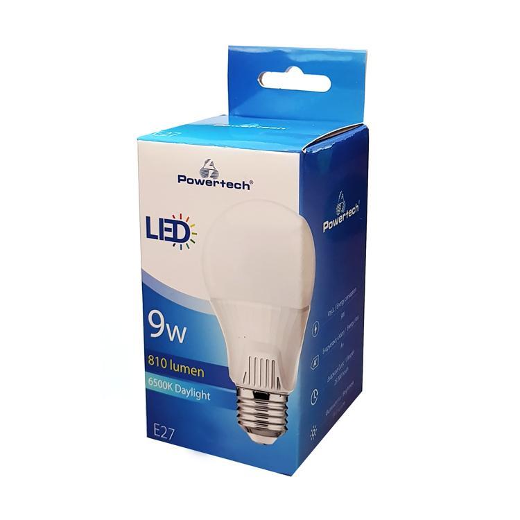 POWERTECH LED Λάμπα Bulb 9W, Daylight 6500K, E27, Samsung LED, IC | Φωτισμός | elabstore.gr