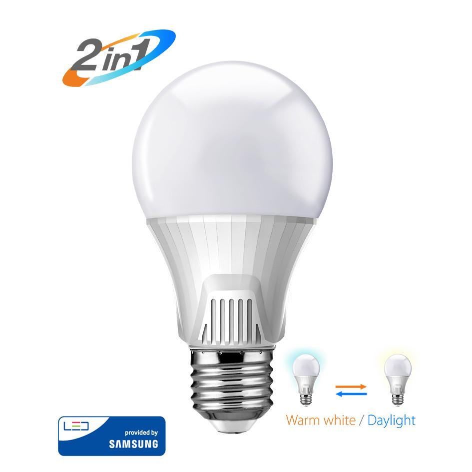 POWERTECH LED Λάμπα Bulb 2 σε 1, 9W, 3000K & 6500K, E27, Samsung LED, IC   Φωτισμός   elabstore.gr
