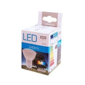 OMEGA LED Λάμπα Spotlight 4W, Warm White 2800K, GU10 | Φωτισμός | elabstore.gr