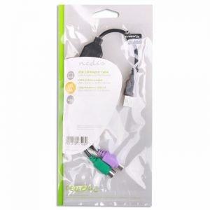 NEDIS CCGP60830BK03 USB - PS/2 Adapter Cable, USB A Male - 2x PS/2 Female, 0.3 m | ΚΑΛΩΔΙΑ / ADAPTORS | elabstore.gr