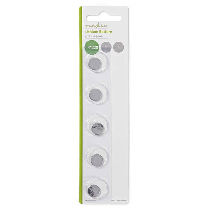 NEDIS BALCR12205BL Lithium Button Cell Battery CR1220, 3V, 5 pieces, Blister | ΜΠΑΤΑΡΙΕΣ / ENERGY | elabstore.gr