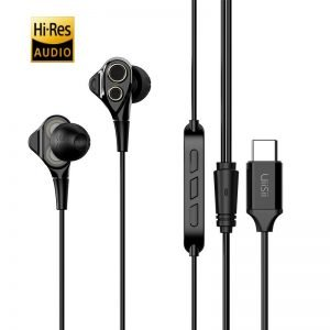 UIISII Earphones C8, Type C, Dual dinamic, mic, 102db, 1.2m, μαύρα   Αξεσουάρ κινητών   elabstore.gr