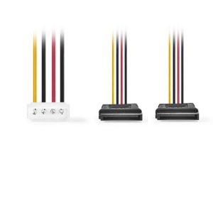 NEDIS CCGP73520VA015 Internal Power Cable Molex Male-2x SATA 15-pin Female 0.15m | ΚΑΛΩΔΙΑ / ADAPTORS | elabstore.gr