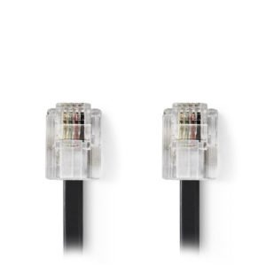 NEDIS TCGP90200BK20 Telecom Cable RJ11 Male - RJ11 Male 2.0 m Black | ΚΑΛΩΔΙΑ / ADAPTORS | elabstore.gr
