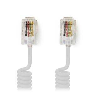 NEDIS TCGP90100WT20 Telecom Cable RJ10 Male - RJ10 Male 2.0 m White | ΚΑΛΩΔΙΑ / ADAPTORS | elabstore.gr