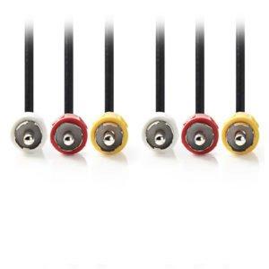 NEDIS CVGP24300BK30 Composite Video Cable 3x RCA Male-3x RCA Male 3.0 m Black   ΚΑΛΩΔΙΑ / ADAPTORS   elabstore.gr