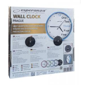 ESPERANZA ρολόι τοίχου Prague EHC014B, μπλε   Οικιακές & Προσωπικές Συσκευές   elabstore.gr