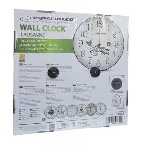 ESPERANZA ρολόι τοίχου Lausanne EHC018L, λευκό   Οικιακές & Προσωπικές Συσκευές   elabstore.gr