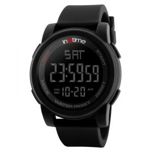 INTIME Ρολόι χειρός Chrono-01, Double time, EL φωτισμός, μαύρο | Οικιακές & Προσωπικές Συσκευές | elabstore.gr