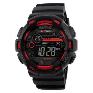 INTIME Ρολόι χειρός Chrono-02, Double time, EL φωτισμός, κόκκινο | Οικιακές & Προσωπικές Συσκευές | elabstore.gr
