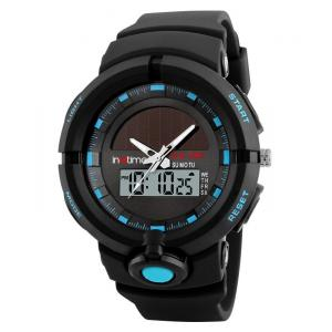 INTIME Ρολόι χειρός Solar-01, Ηλιακό, διπλή ώρα, El φωτισμός, μπλε | Οικιακές & Προσωπικές Συσκευές | elabstore.gr