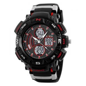 INTIME Ρολόι χειρός Chrono-03, Double time, EL φωτισμός, κόκκινο | Οικιακές & Προσωπικές Συσκευές | elabstore.gr