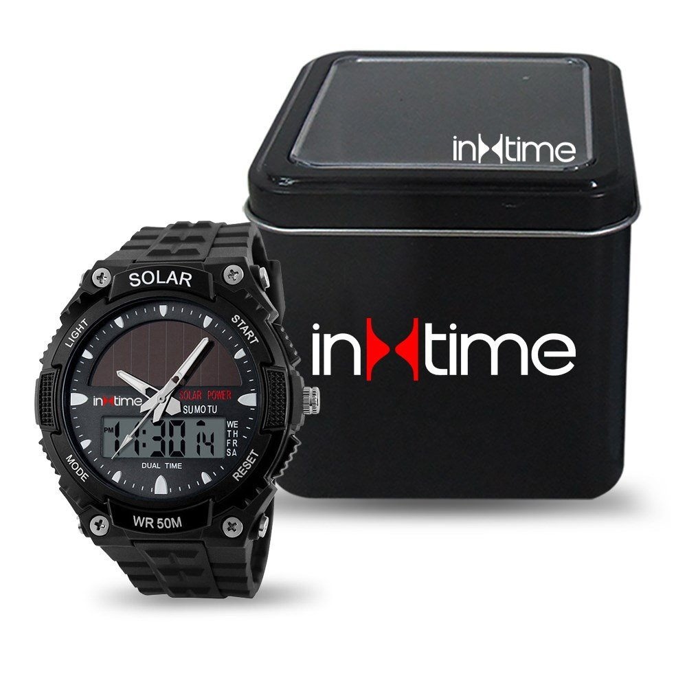 INTIME Ρολόι χειρός Solar-02, Ηλιακό, διπλή ώρα, El φωτισμός, μαύρο | Οικιακές & Προσωπικές Συσκευές | elabstore.gr
