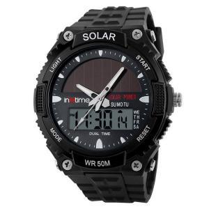 INTIME Ρολόι χειρός Solar-02, Ηλιακό, διπλή ώρα, El φωτισμός, μαύρο   Οικιακές & Προσωπικές Συσκευές   elabstore.gr