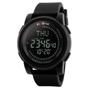 INTIME Ρολόι χειρός Comp-01, πυξίδα, World time, El φωτισμός, μαύρο | Οικιακές & Προσωπικές Συσκευές | elabstore.gr