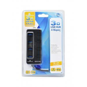 POWERTECH USB 3.0V Hub, 4 Port, με διακόπτη On-Off | Συνοδευτικά PC | elabstore.gr