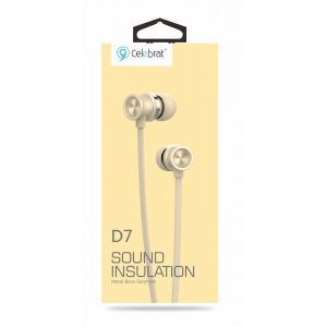CELEBRAT Earphones με μικρόφωνο D7, on/off, 10mm, 1.2m, χρυσά | Αξεσουάρ κινητών | elabstore.gr