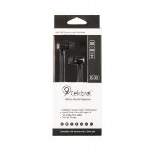CELEBRAT Earphones με μικρόφωνο S-30, on/off, 10mm, 1.2m flat, μαύρα | Αξεσουάρ κινητών | elabstore.gr