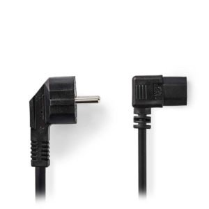 NEDIS CEGP10020BK20 Power Cable Schuko Male Angled - IEC-320-C13 Angled 2.0 m Bl | ΚΑΛΩΔΙΑ / ADAPTORS | elabstore.gr
