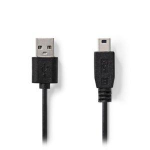 NEDIS CCGT60300BK10 USB 2.0 Cable A Male - Mini 5-Pin Male 1.0 m Black | ΚΑΛΩΔΙΑ / ADAPTORS | elabstore.gr