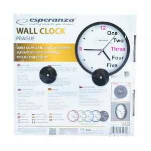 ESPERANZA Ρολόι τοίχου Prague EHC014K, 20cm, μαύρο | Οικιακές & Προσωπικές Συσκευές | elabstore.gr