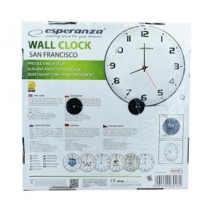 ESPERANZA Ρολόι τοίχου San Francisco EHC018F, 30cm, λευκό   Οικιακές & Προσωπικές Συσκευές   elabstore.gr