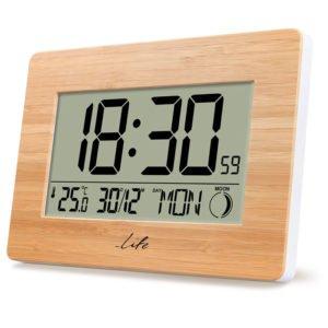 LIFE Bamboo Clock XL Alarm Clock with indoor thermometer   ΜΙΚΡΟΣΥΣΚΕΥΕΣ / ΕΠΟΧΙΑΚΑ / ΛΕΥΚΕΣ ΣΥΣΚΕΥΕΣ   elabstore.gr