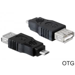 DELOCK Adapter USB Micro-B Male σε USB 2.0 A Female OTG, Black | Αξεσουάρ κινητών | elabstore.gr