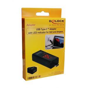 DELOCK Adapter Type-C male σε female, LED indicator για Voltage & Ampere   Εργαλεία   elabstore.gr