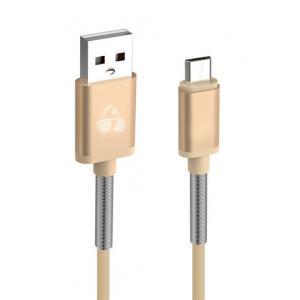 POWERTECH Καλώδιο USB σε Micro USB flex alu PTR-0016, copper, 1m, χρυσό | Αξεσουάρ κινητών | elabstore.gr