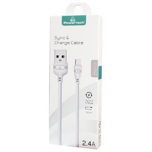 POWERTECH Καλώδιο USB σε Micro USB eco PTR-0055 copper, 1m , μαύρο | Αξεσουάρ κινητών | elabstore.gr