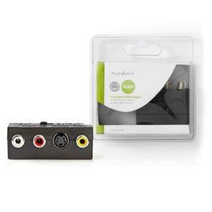 NEDIS CVGB31902BK Switchable SCART Adapter SCART Male - S-Video Female + 3x RCA   ΚΑΛΩΔΙΑ / ADAPTORS   elabstore.gr