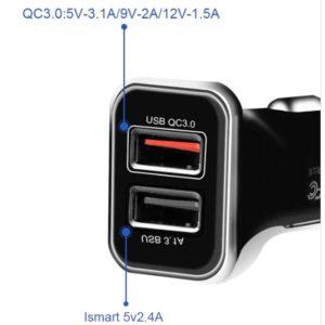 Car Charger WK Dual USB 3.1A & QC3.0 Black WP-C19 | MOBILE COMPONENTS | elabstore.gr