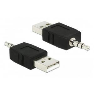 DELOCK Αντάπτορας USB 2.0 σε Stereo Jack 3.5mm 66069, μαύρο | Αξεσουάρ κινητών | elabstore.gr