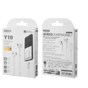 Earphone WK Y19 Lighting White | MOBILE COMPONENTS | elabstore.gr