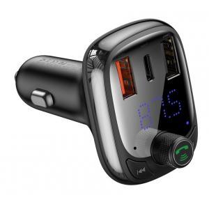 BASEUS FM transmitter με LCD οθόνη CCTM-B01, 5A, SD, BT, μαύρο   Gadgets   elabstore.gr