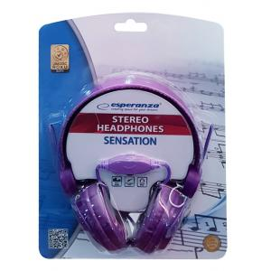 ESPERANZA headphones Sensation EH148V, 3.5mm, 105dB, 3m, μωβ | Αξεσουάρ κινητών | elabstore.gr