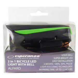 ESPERANZA Εμπρόσθιος φωτισμός ποδηλάτου Alfard EOT023, 180lm, με κόρνα   Gadgets   elabstore.gr