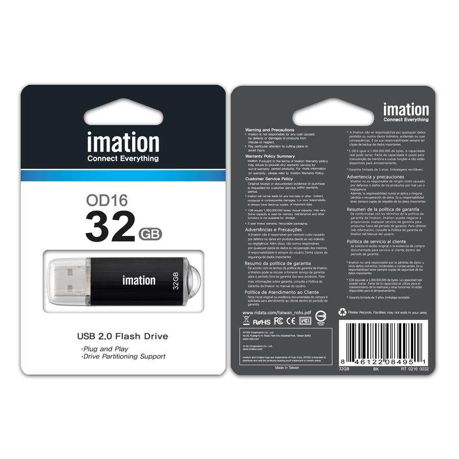 IMATION USB Flash Drive OD16 RT02160032, 32GB, USB 2.0, μαύρο | Συνοδευτικά PC | elabstore.gr