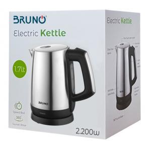 BRUNO Ηλεκτρικός βραστήρας BRN-0030, 2200W, 1.7lt, βάση 360° | Οικιακές & Προσωπικές Συσκευές | elabstore.gr
