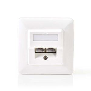 NEDIS CCGP89150IV Network Wall Box 2x RJ45 Female-Surface and Flush Mounting Ivo | ΔΙΚΤΥΑΚΑ | elabstore.gr