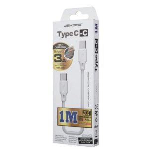 Charging Cable WK TYPE-C/TYPE-C White 1m Full Speed WDC-106 | MOBILE COMPONENTS | elabstore.gr
