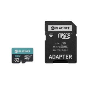 PLATINET microSDHC  SECURE DIGITAL + ADAPTER SD 32GB class10 U1 70MB/s   ELABSTORE.GR